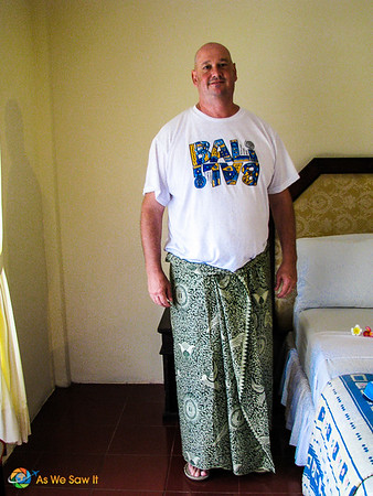 Dan models his sarong-cum-Indonesian bathing suit cover-up.