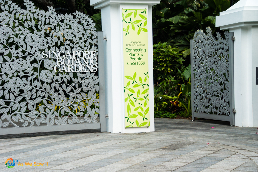 The main gate of the Tanglin core is a cast-aluminium tangle of Bauhinia kockiana, the climber planted at the fencing just beside it.