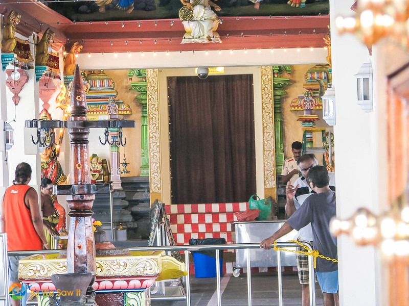 Hindu worshippers inside Sri Mariamman Temple