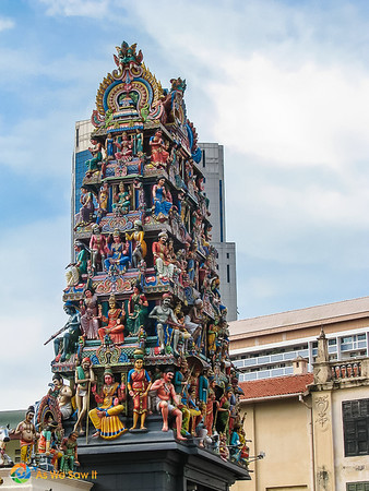 side view of gopura at Sri Mariamman Temple