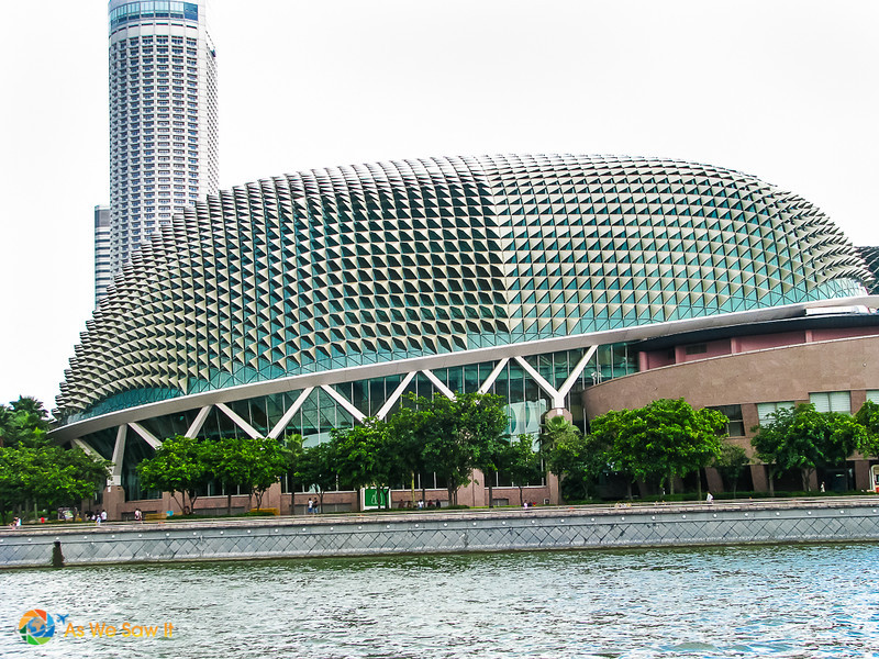 The Esplanade, also known as the durian, a theater along the Singapore River