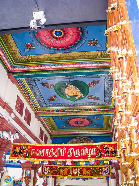Details of brightly painted ceiling at Sri Mariamman Temple Hindu temple in Singapore
