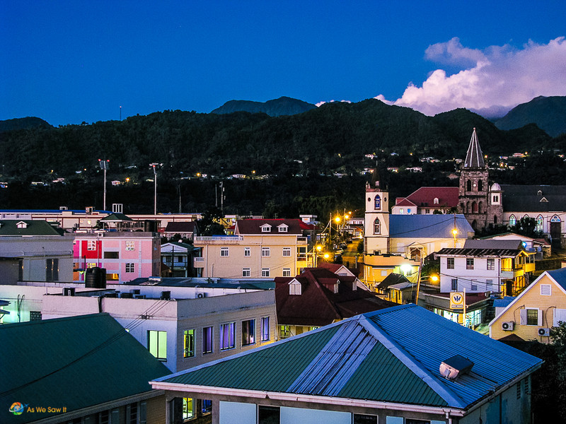 Cityscape of Roseau Dominica with mountains in the background