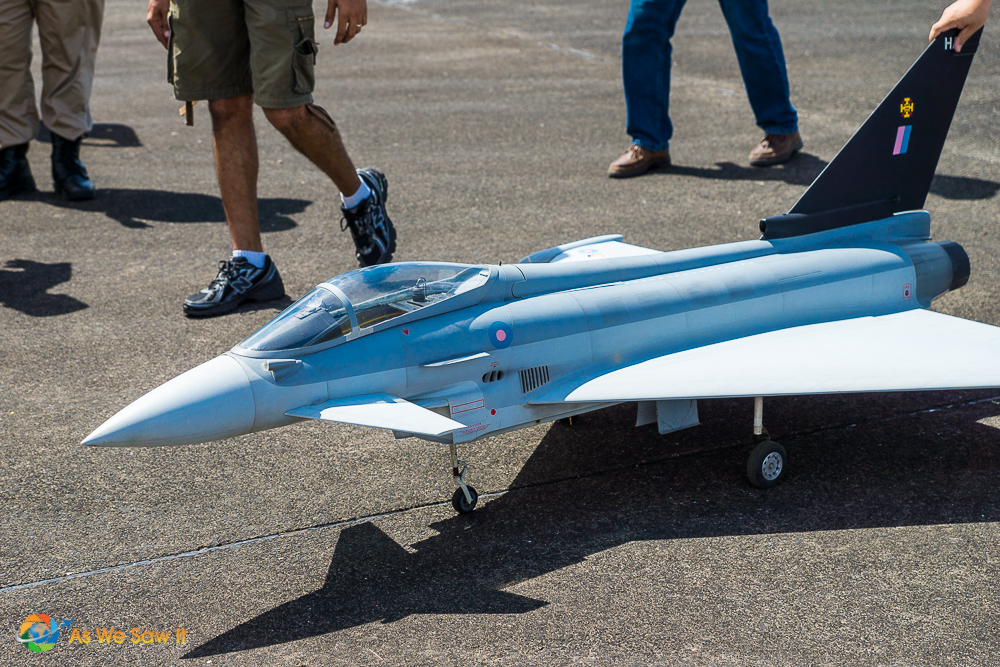 Up close view of a fight jet model.