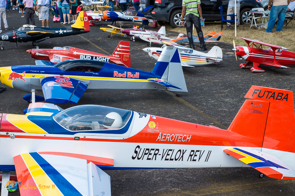 Model planes lined up for spectators to see.