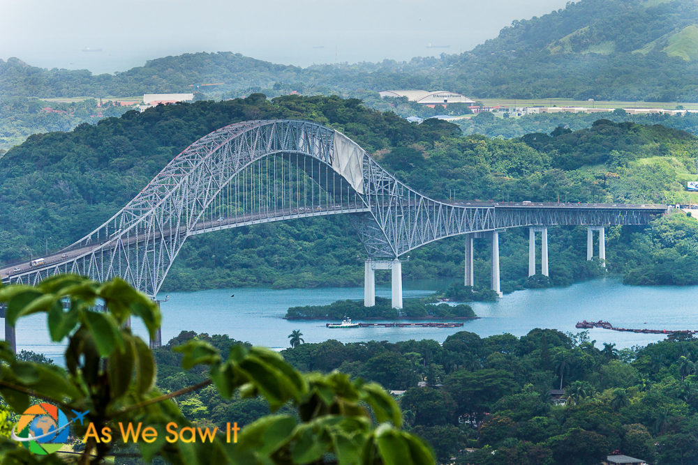 Close up of the Bridge of the Americas from the top of Ancon Hill.