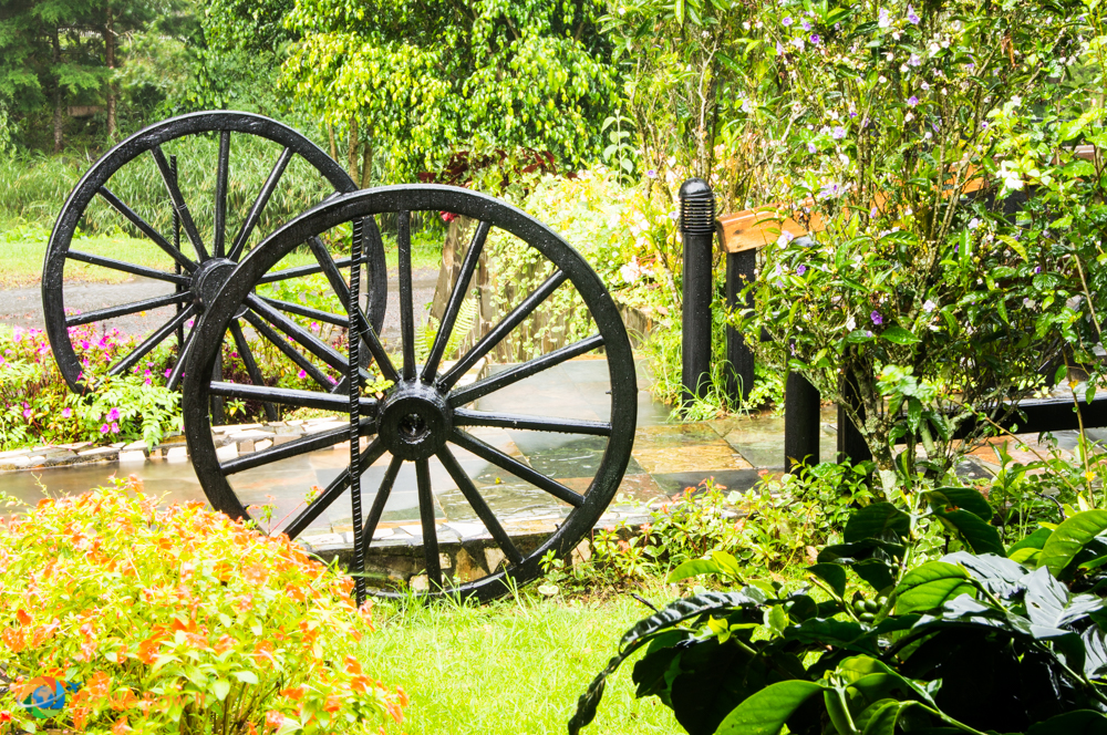 Ornately designed gardens incorporate artworks in keeping with the theme.