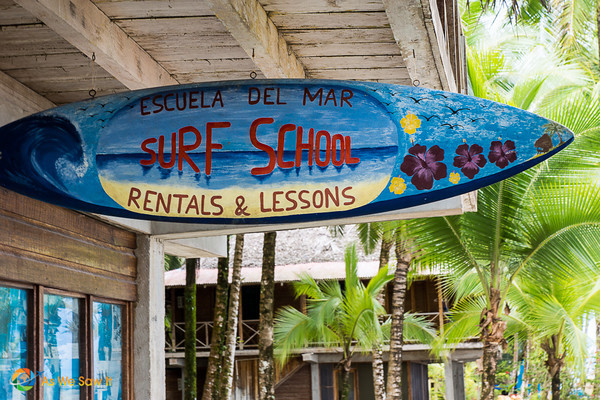 Sign for surf school in Bocas del Toro