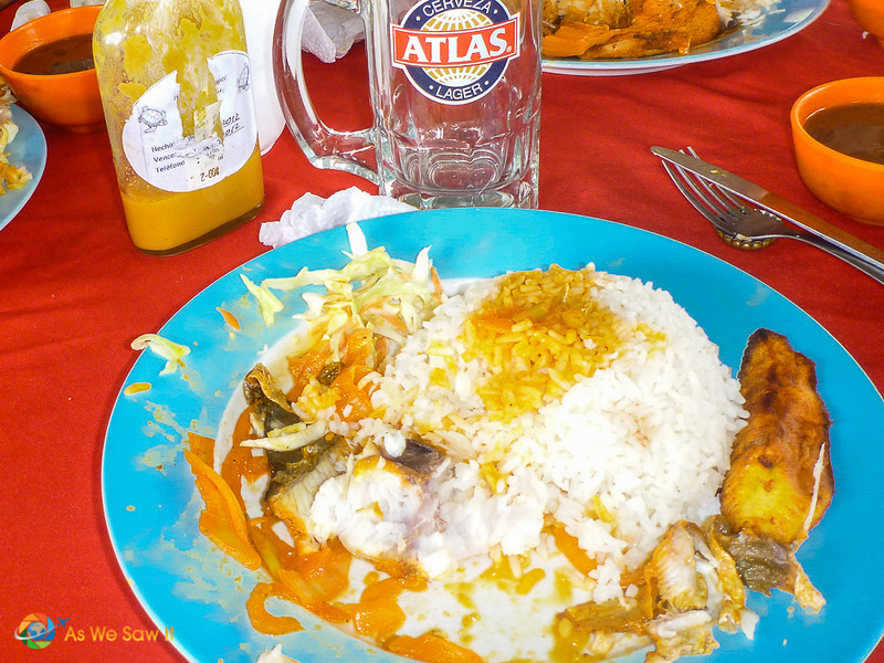 Snapper with rice and Maduros, a sweet fried plantain.
