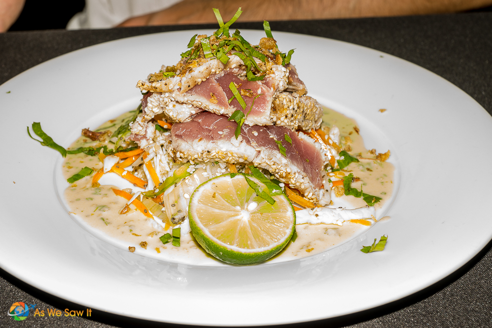 Seared Ahi Tuna with Asian Fusion flavors at Lemongrass Cafe'.