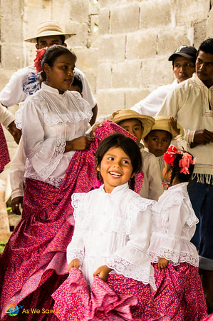 Dressed in Panamanian cultural costumes these young girls put their hearts into dancing