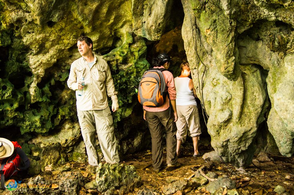 exploring a rainforest cave