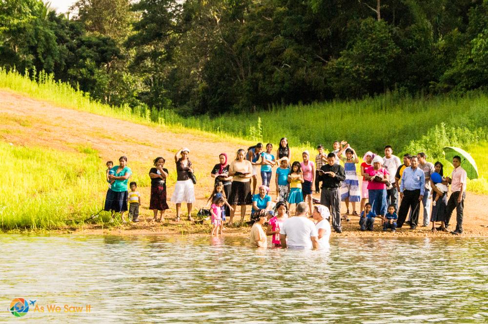 Baptizing believers in Lake Gatun