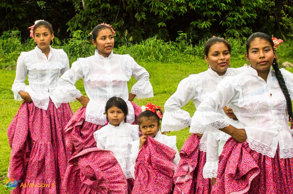Children prepare to dance in a Panama village