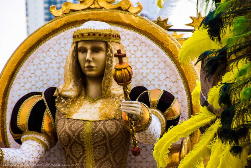 Statue of a woman holding scepter. Detail from a Carnaval float in Panama City,