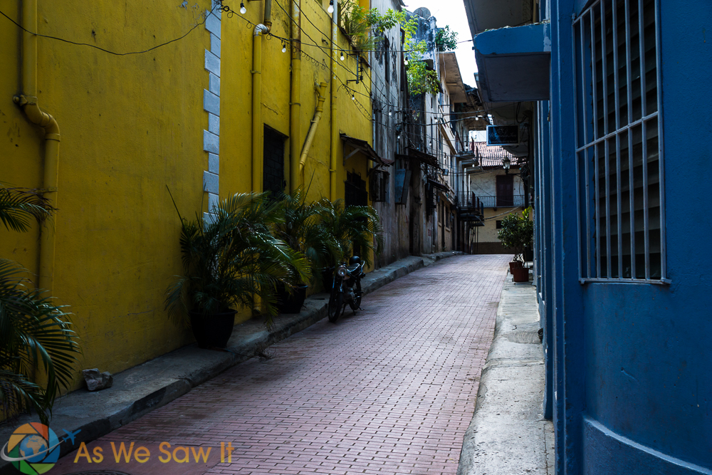 Brick streets and bright colors are the normal in Casco Viejo, Panama.