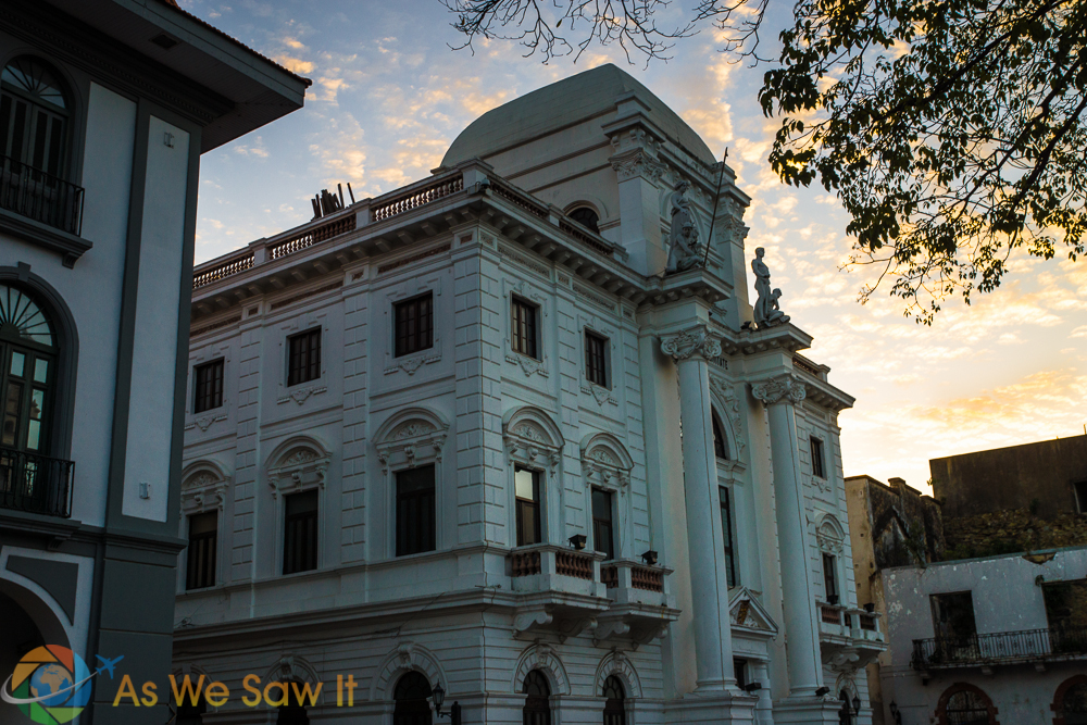 Beautiful architecture as the sun set for the day on Panama Viejo, Panama City, Panama.