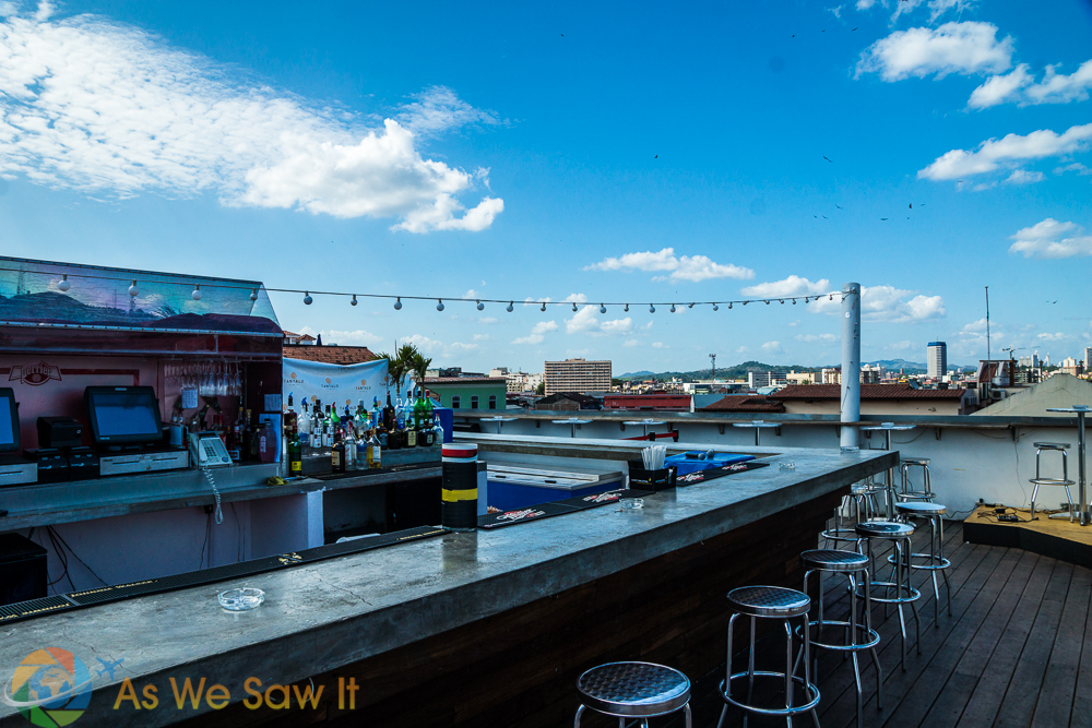 Roof-top bar offers views and booze.