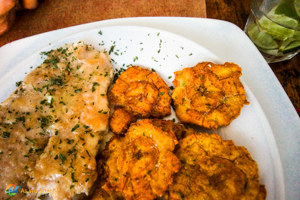 A gravy-coated chicken breast, sprinked with parsley, on a plate. Served with tostones as a side dish.
