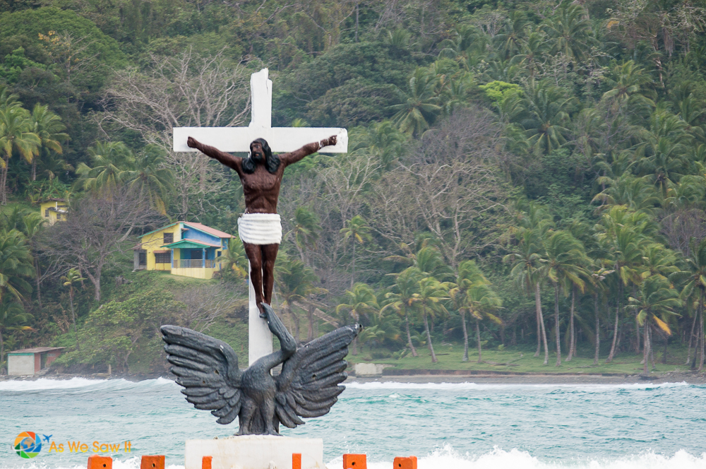 Catholic cross just of the coast of Isla Grande