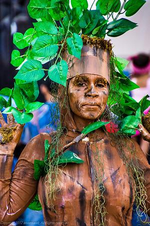 Woman at Panama Carnival wearing a tree costume
