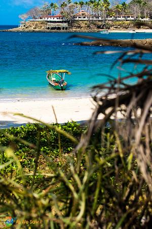 A boat sits anchored at Isla Contadora, Pearl Islands, Panama