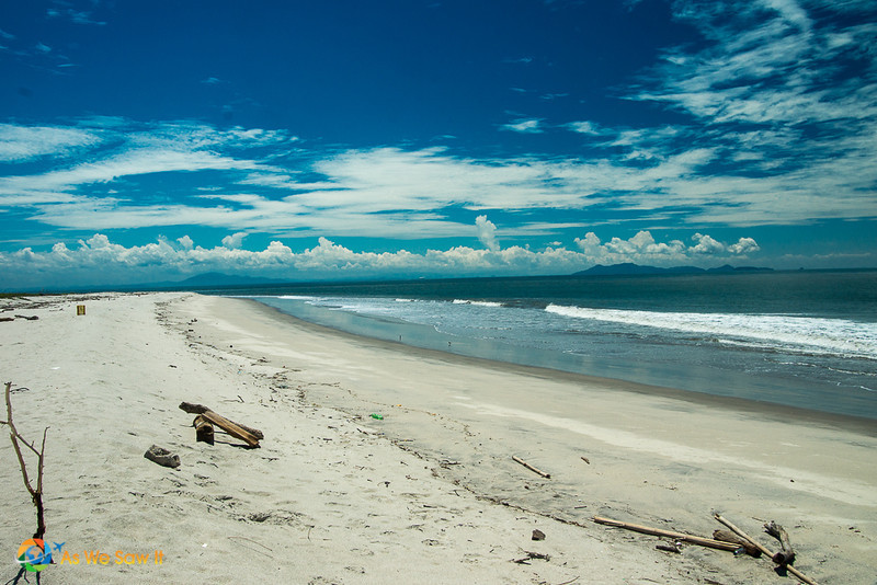 view of the secluded white sand beach at Punta Chame Panama