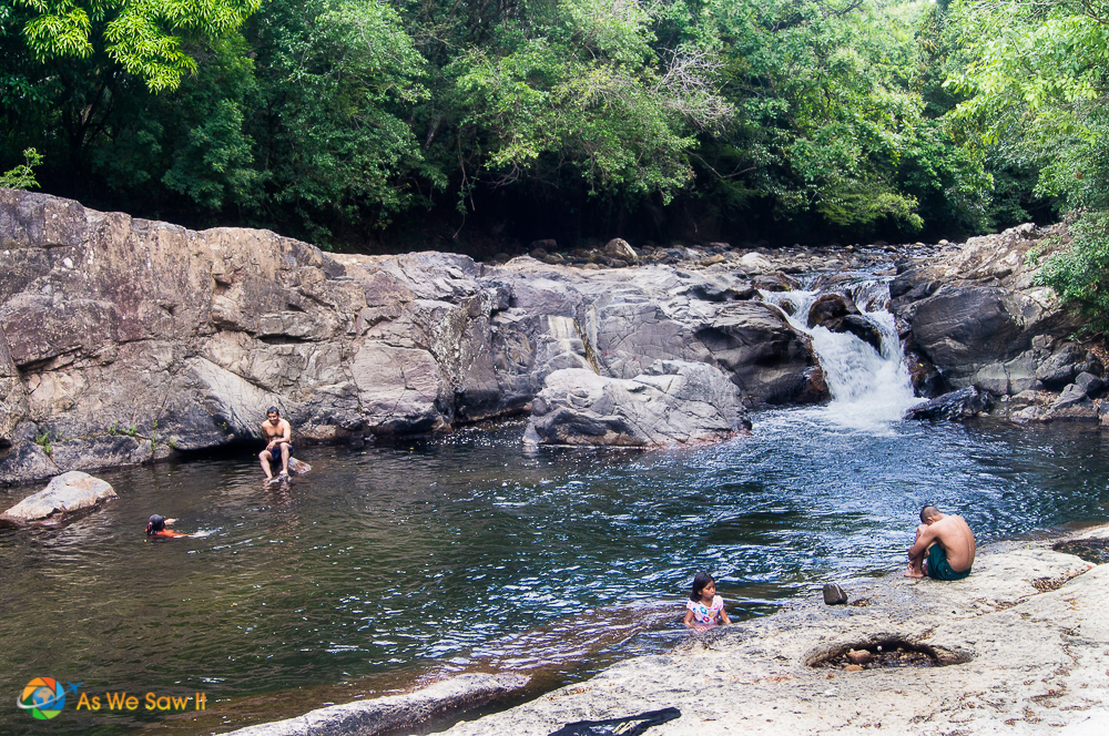The swimming hole was cool and refreshing to take a dip in.