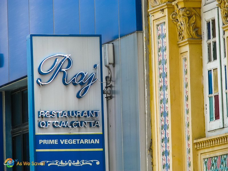 Sign for Raj vegetarian restaurant, Singapore