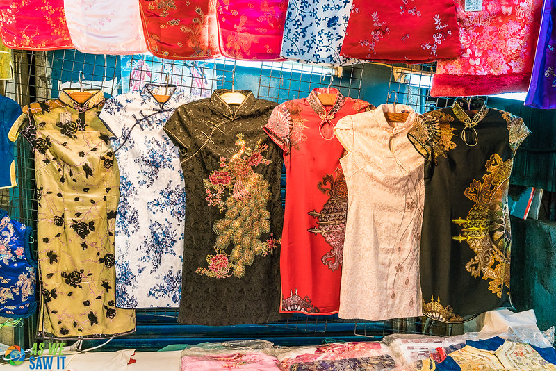 Chinese-style dresses for sale at a Shilin Night Market booth