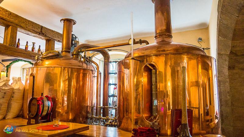 Copper beer vats at Schlenkerla brewery