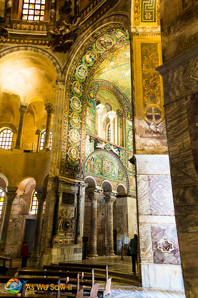 Mosaics on the arch in the Basilica of San Vitale