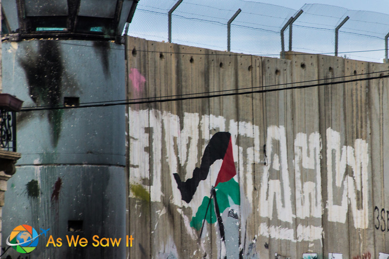 Grafitti on a wall at the border between Palestine and Israel