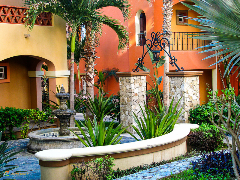 Mexican architecture, fountain and landscaping at La Hacienda Resort, Cabo San Lucas, Mexico