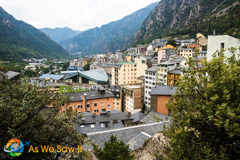 Mountains closely surround Andorra la Vella