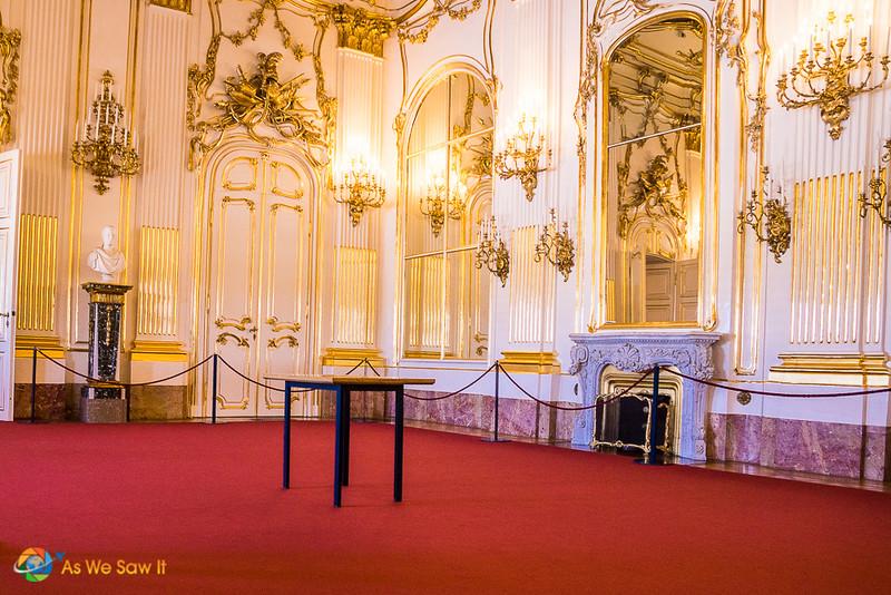 Reception room inside Schonbrunn Palace