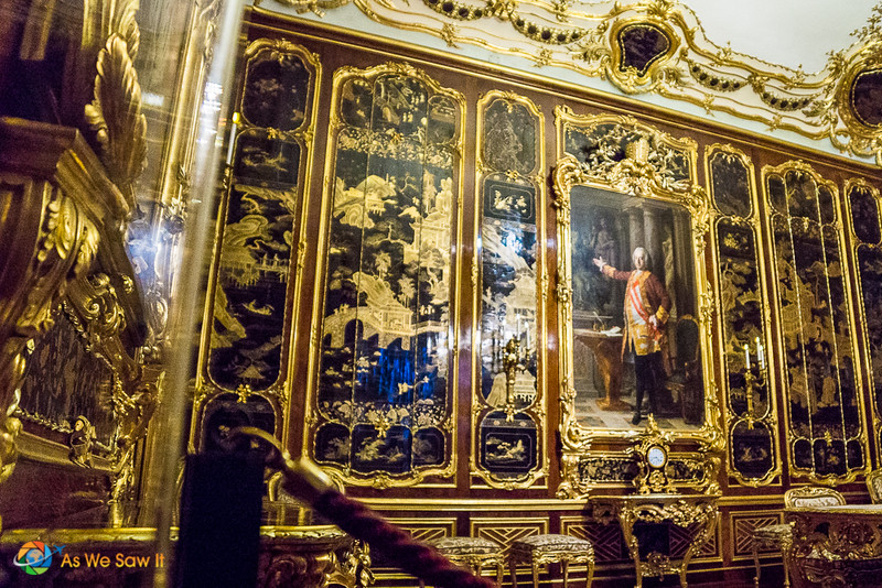 Some of the many beautiful panels Inside Schonbrunn Palace, Austria