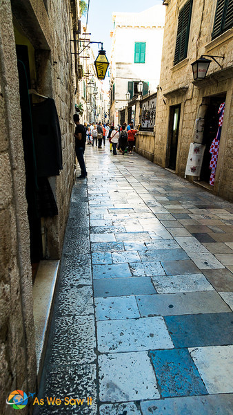 The ancient streets of Dubrovnik have been polished smooth through centuries of use.
