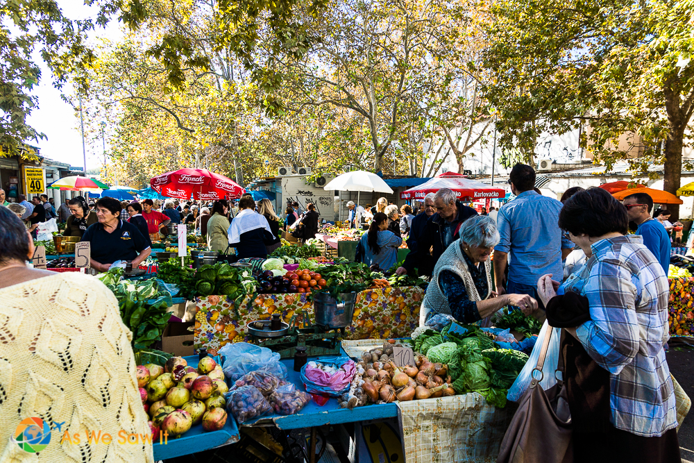 The locals shop at this green market in Split, Croatia