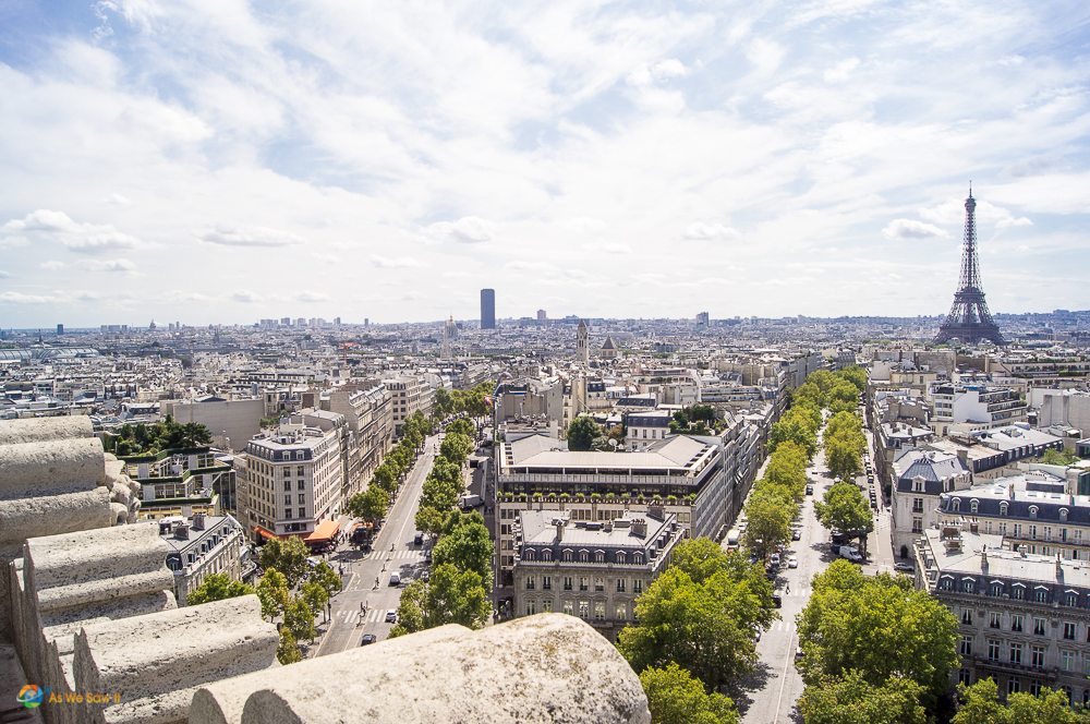 View from the top of the Arc de Triomphe, Paris