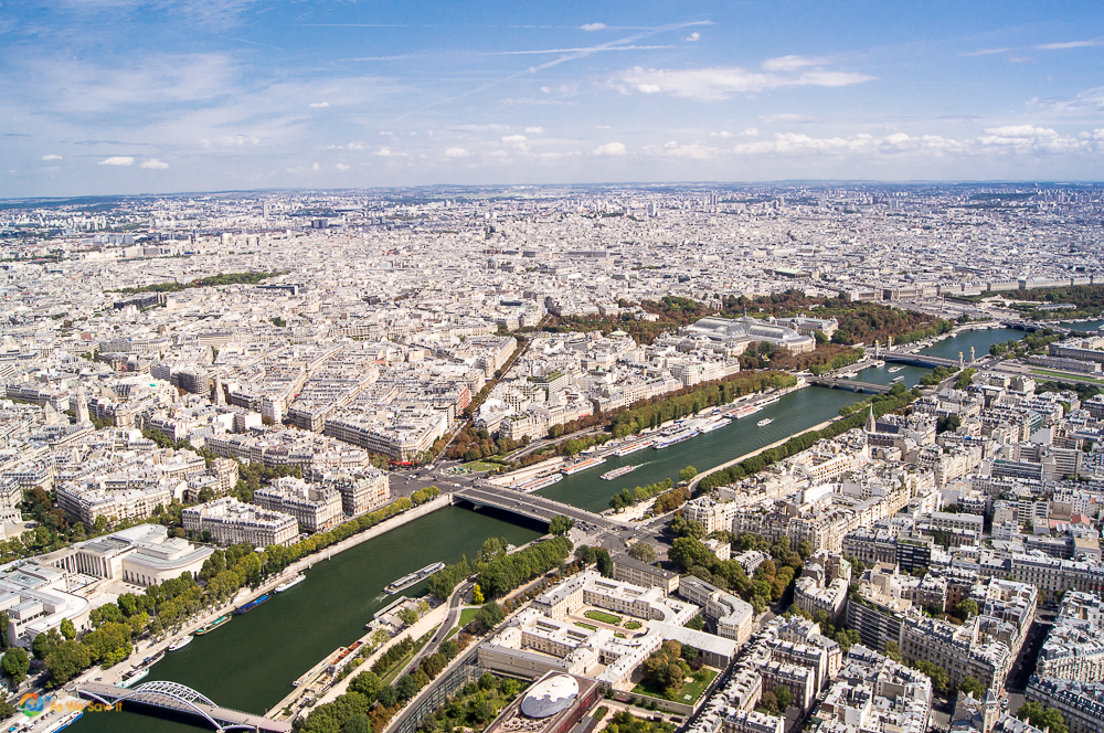 Paris, France from the top of the Eiffel Tower.