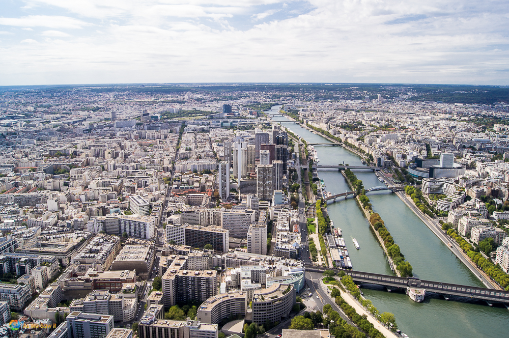 View up the Seine from the Eiffel Tower.