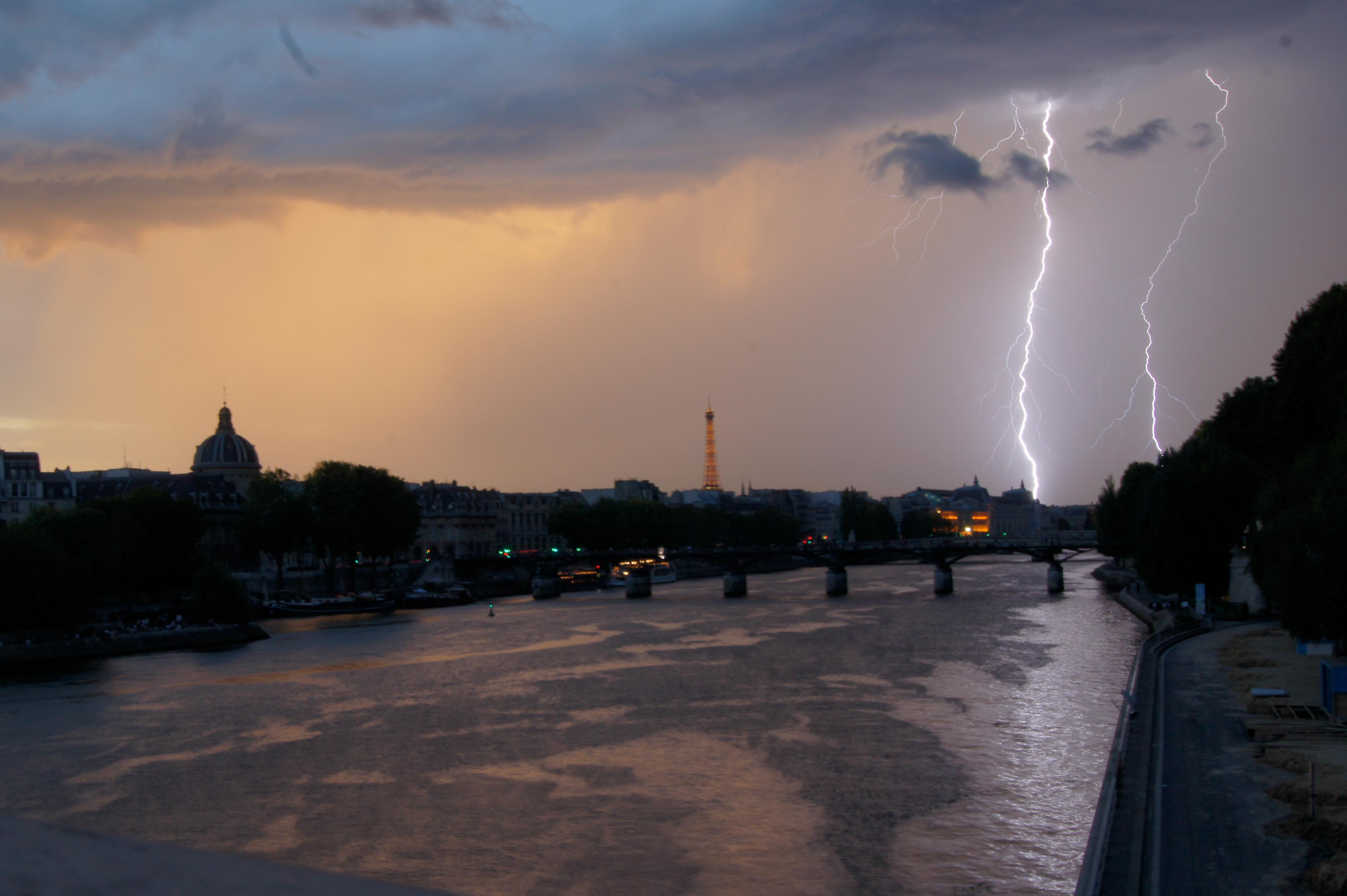 Thunderstorm in Paris, France.