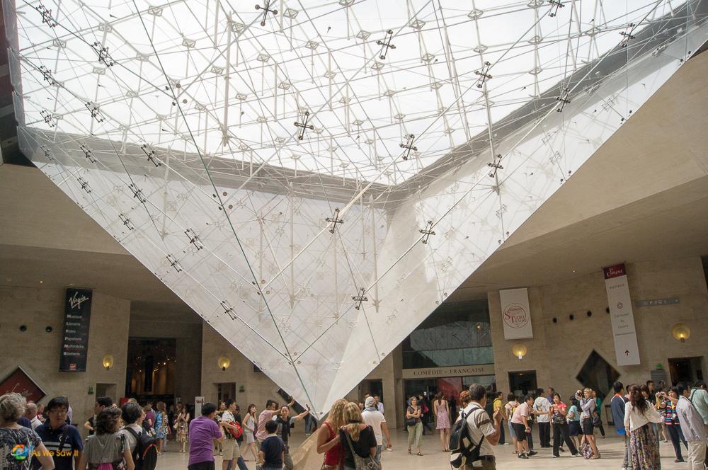 Pyramid inside the Lourve in Paris