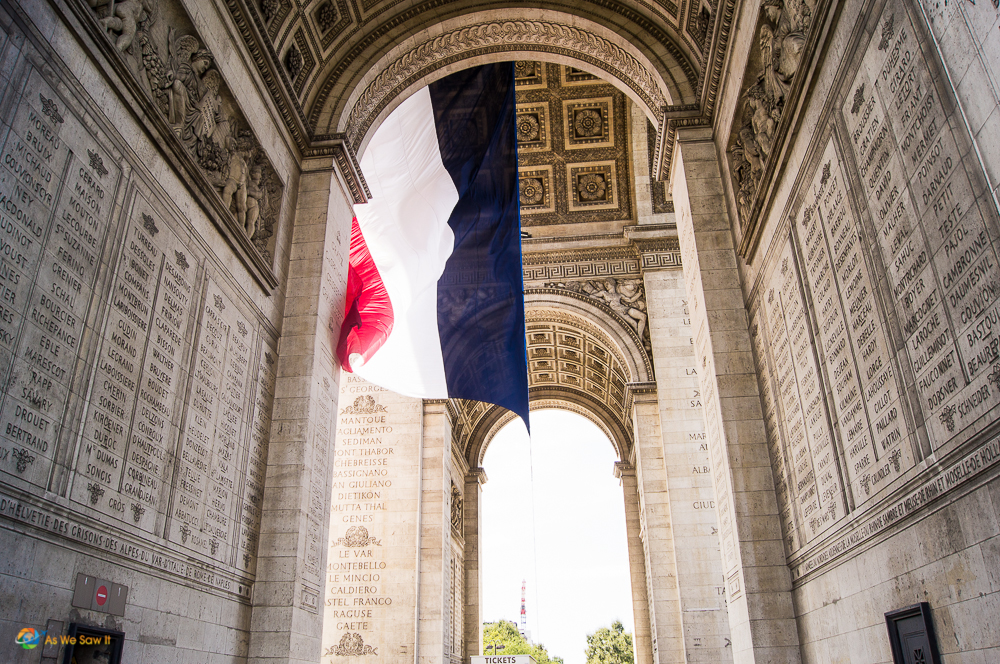 French flag inside the Arc de Triomphe, Paris