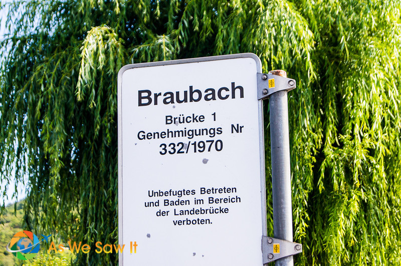 Street sign for Braubach Germany.