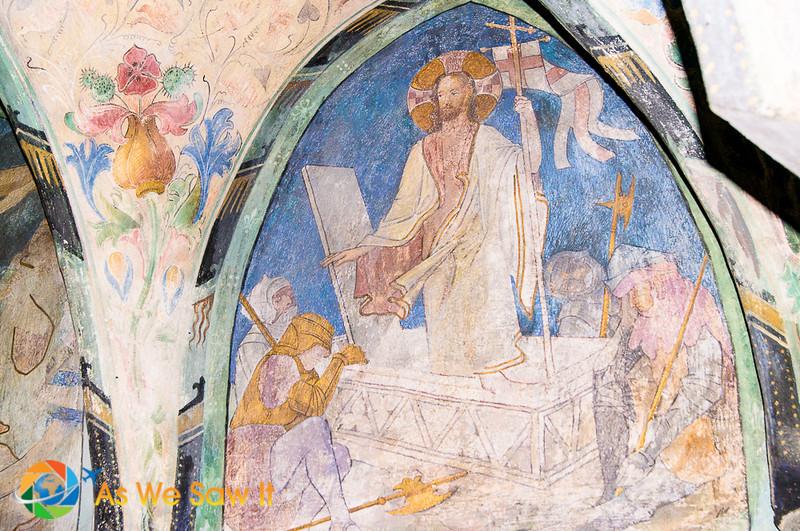 Jesus blesses St. Mark in a fresco at Marksburg Castle.