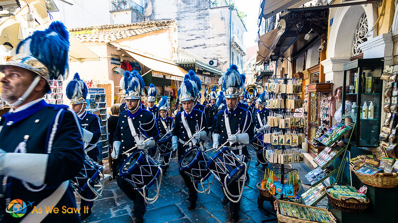 Ohi Day drummers parading through a pedestrian shopping street in Corfu Greece