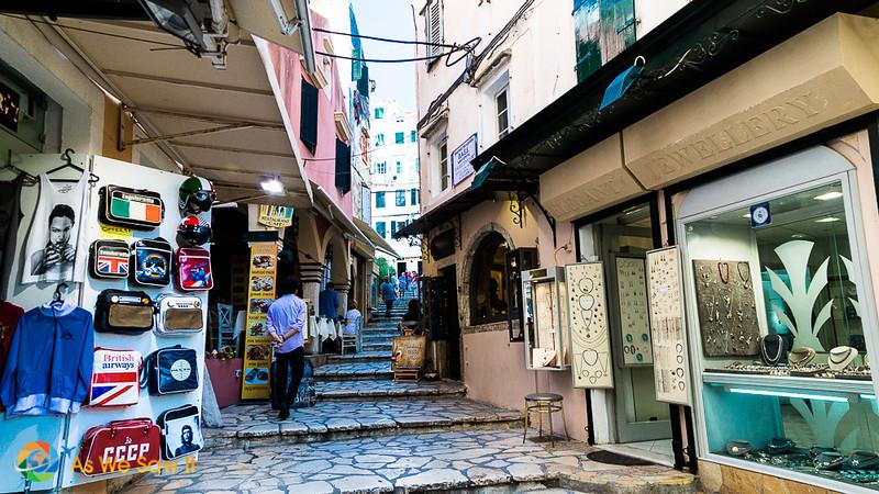 side street with shops in Kerkyra