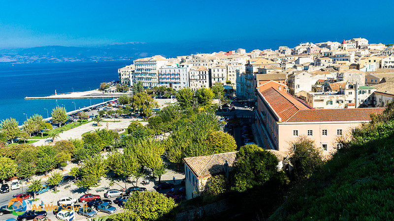view of Corfu and bay